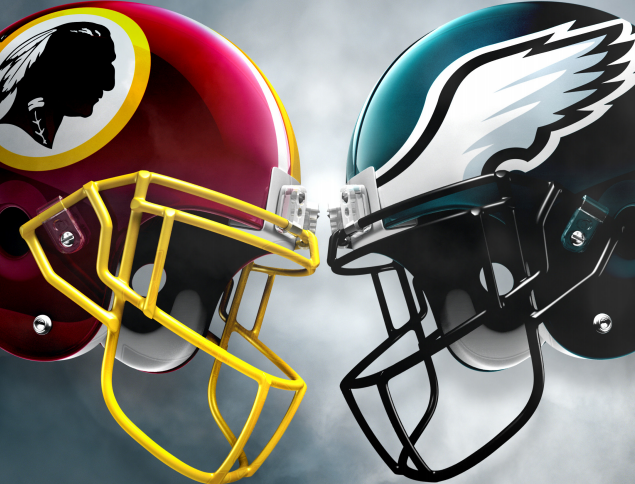 Redskins and Eagles Helmets